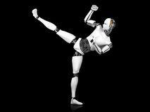 Male robot doing karate kick. Stock Photos