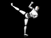 Male robot doing karate kick. A male robot doing a karate kick. Black background Stock Photos