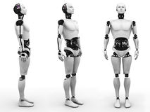 Male robot standing, three different angles. Male robot standing, a view of it from three different angles. White background vector illustration