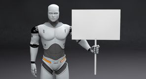 Free Male Robot With Small Polled Blank Sign On Dark Background Royalty Free Stock Image - 142205106