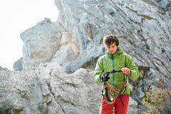 Male rock climber Stock Images