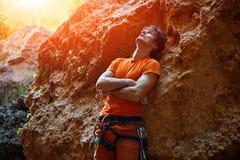Male rock climber Stock Photo
