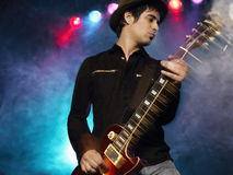 Male Rock Guitarist In Concert Stock Photos