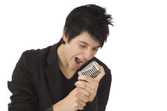 Male rock singer Stock Photo