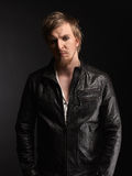 Male rocker and black leather jacket Royalty Free Stock Photos