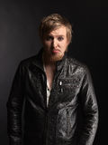 Male rocker and black leather jacket Royalty Free Stock Photo