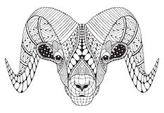 Male rocky mountain bighorn sheep ram standing zentangle stylize Royalty Free Stock Photos