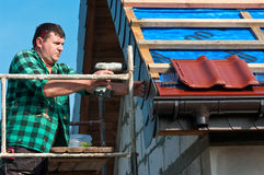 Male roofer at work royalty free stock photography