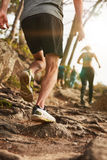 Male runner on rough terrain outdoors Stock Photography