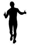 Male runner running. Thumb up black silhouette Stock Photography