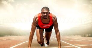 Male runner on track against flares. Digital composite of Male runner on track against flares vector illustration