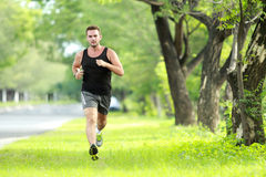 Male runner training for marathon. Portrait of male runner training for marathon with copy space Royalty Free Stock Image