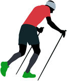 Male runner with trekking poles Royalty Free Stock Photo