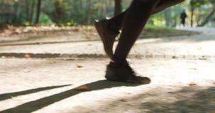 Triathlete Running, Sprinting And Endurance Marathon Workout. Runner Man Fit Athlete Legs Jogging On Trail Ready To
