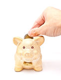 A male's hand putting a coin to piggy bank Royalty Free Stock Photo