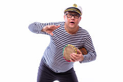 Male sailor singer on microphone. On white back Royalty Free Stock Image