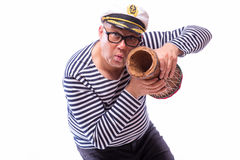 Male sailor singer on microphone. On white back Royalty Free Stock Photo