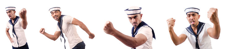 The male sailor in studio shooting Royalty Free Stock Photography