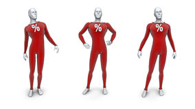 Male sale mannequins. 3D render of male mannequins with percentage sign Royalty Free Stock Image