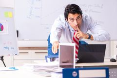 The male sales analyst in front of the whiteboard royalty free stock images