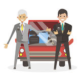 Male Sales sold the car and sends the keys to the client businessman. Character vector illustration flat people. Royalty Free Stock Photos