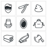 Male salon haircut beard, mustache and hairstyle icons set. Vector Illustration. Stock Image