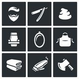 Male salon haircut beard, mustache and hairstyle icons set. Vector Illustration. Royalty Free Stock Photo