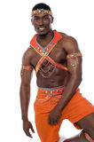 Male samba dancer posing over white Royalty Free Stock Images