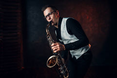 Free Male Saxophonist Playing Classical Jazz On Sax Royalty Free Stock Photo - 91546075