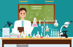 Male scientist at Chemical laboratory Science . Royalty Free Stock Photo