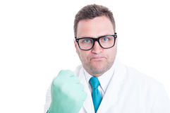 Male scientist close-up showing fist like being mad. Isolated on white background with advertising space Stock Images
