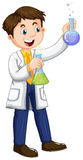 Male scientist holding beakers Royalty Free Stock Image
