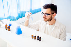 Male scientist in a laboratory Stock Images