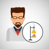 Male scientist laboratory processing icon Stock Image