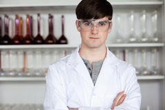Male scientist posing. In a laboratory Royalty Free Stock Image