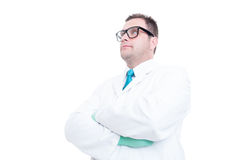 Male scientist posing with arms crossed low angle Royalty Free Stock Images