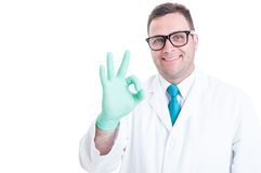 Male scientist smiling and showing okay gesture. Isolated on white background with copy text space Stock Photo