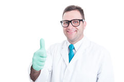 Male scientist smiling and showing thumb up gesture. Isolated on white background with copy text space Stock Images