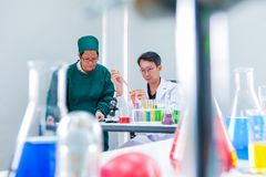 Male scientist standing with techer in lab worker making medical. Research in modern laboratory. Scientist holding documents folder with analysis results Royalty Free Stock Image