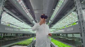Male scientist in a white coat standing in the hallway of vertical farming with hydroponics with glasses virtualnoy