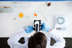 Male scientist during work at modern biological laboratory. Young male scientist during work at modern biological laboratory Royalty Free Stock Photos