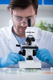 Male scientist during work at modern biological laboratory. Young male scientist during work at modern biological laboratory Royalty Free Stock Images