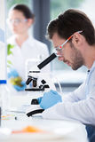 Male scientist during work at modern biological laboratory. Young male scientist during work at modern biological laboratory Stock Image