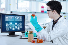 Male scientist work in modern laboratory Stock Image
