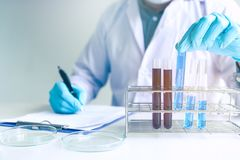 Male scientist worker in white coat working with test tubes in l. Aboratory Stock Photography