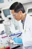 Male Scientist Working In Laboratory. Writing Royalty Free Stock Photos