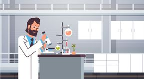 Male scientist working with microscope in laboratory doing research man making scientific experiments doctor in lab. Interior horizontal vector illustration stock illustration