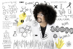 Male scientist writes research formulas. Close up of male scientist writes research formulas on whiteboard while wearing uniform and glasses Royalty Free Stock Images