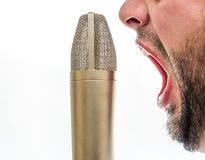 Male screaming into a microphone stock images
