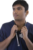 Male in Scrubs. Over a white background Stock Photos